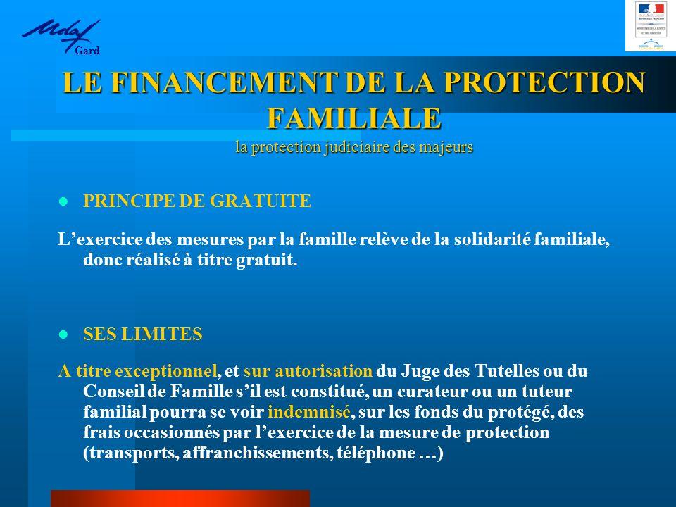 PRINCIPE DE GRATUITE L'exercice des mesures par la famille relève de la solidarité familiale, donc réalisé à titre gratuit.