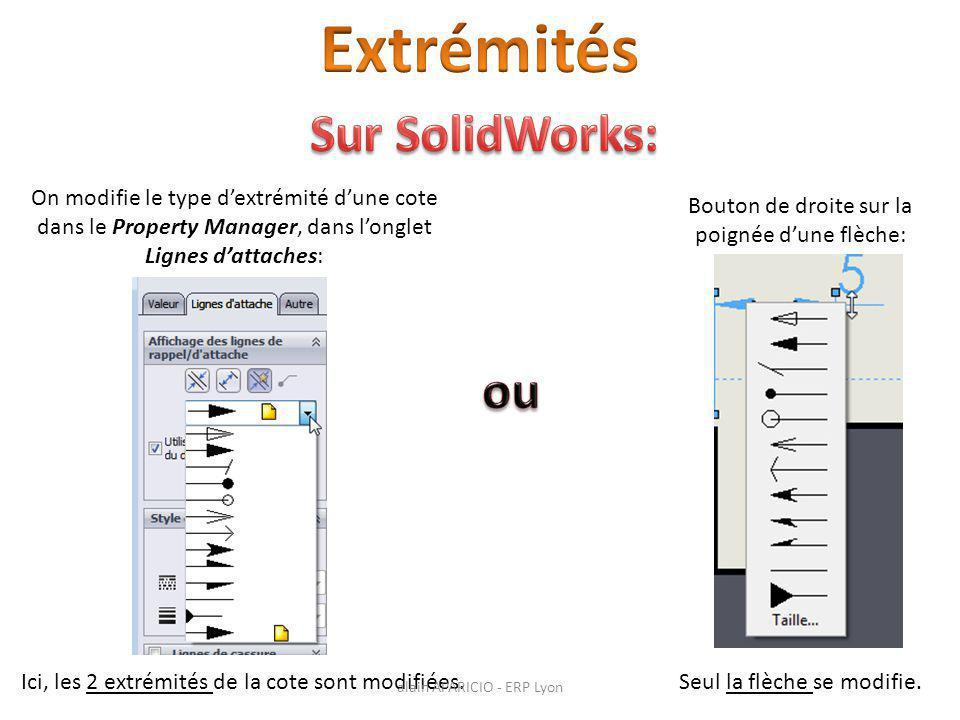 On modifie le type d'extrémité d'une cote dans le Property Manager, dans l'onglet Lignes d'attaches: Ici, les 2 extrémités de la cote sont modifiées.