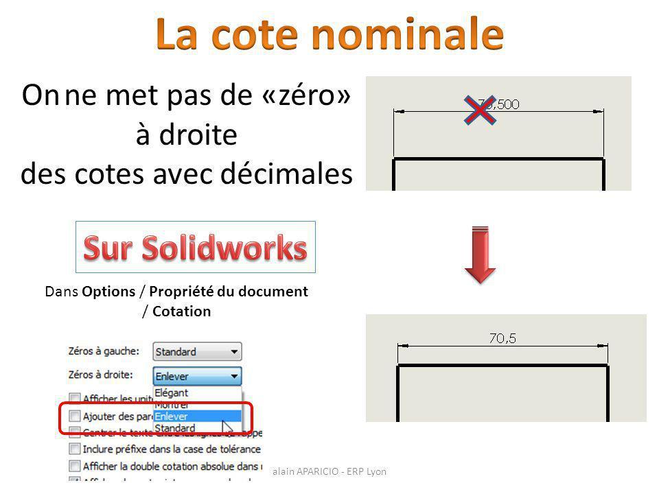 On ne met pas de «zéro» à droite des cotes avec décimales Dans Options / Propriété du document / Cotation alain APARICIO - ERP Lyon