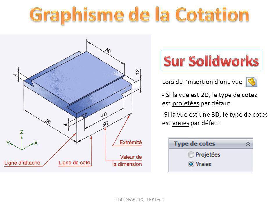 - Si la vue est 2D, le type de cotes est projetées par défaut Lors de l'insertion d'une vue -Si la vue est une 3D, le type de cotes est vraies par défaut alain APARICIO - ERP Lyon