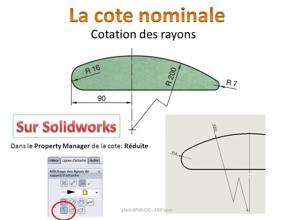 Cotation des rayons Dans le Property Manager de la cote: Réduite alain APARICIO - ERP Lyon
