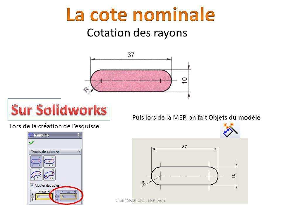 Cotation des rayons Lors de la création de l'esquisse Puis lors de la MEP, on fait Objets du modèle alain APARICIO - ERP Lyon