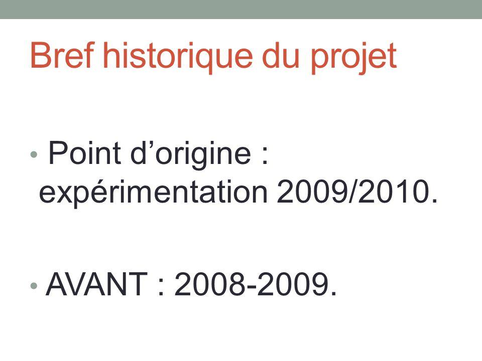 Bref historique du projet Point d'origine : expérimentation 2009/2010. AVANT : 2008-2009.
