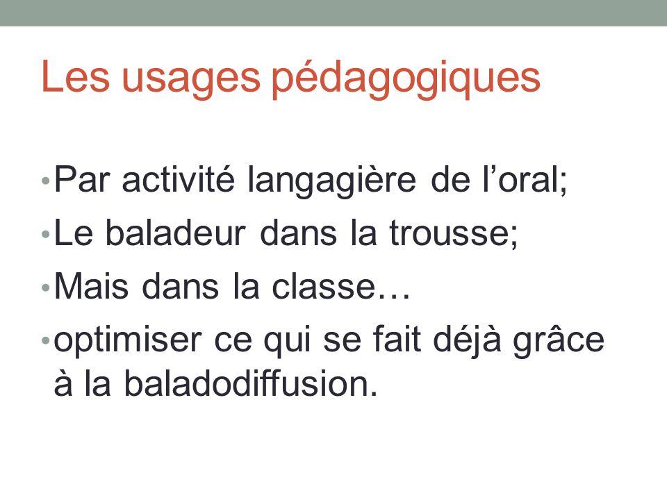 Les usages pédagogiques Par activité langagière de l'oral; Le baladeur dans la trousse; Mais dans la classe… optimiser ce qui se fait déjà grâce à la