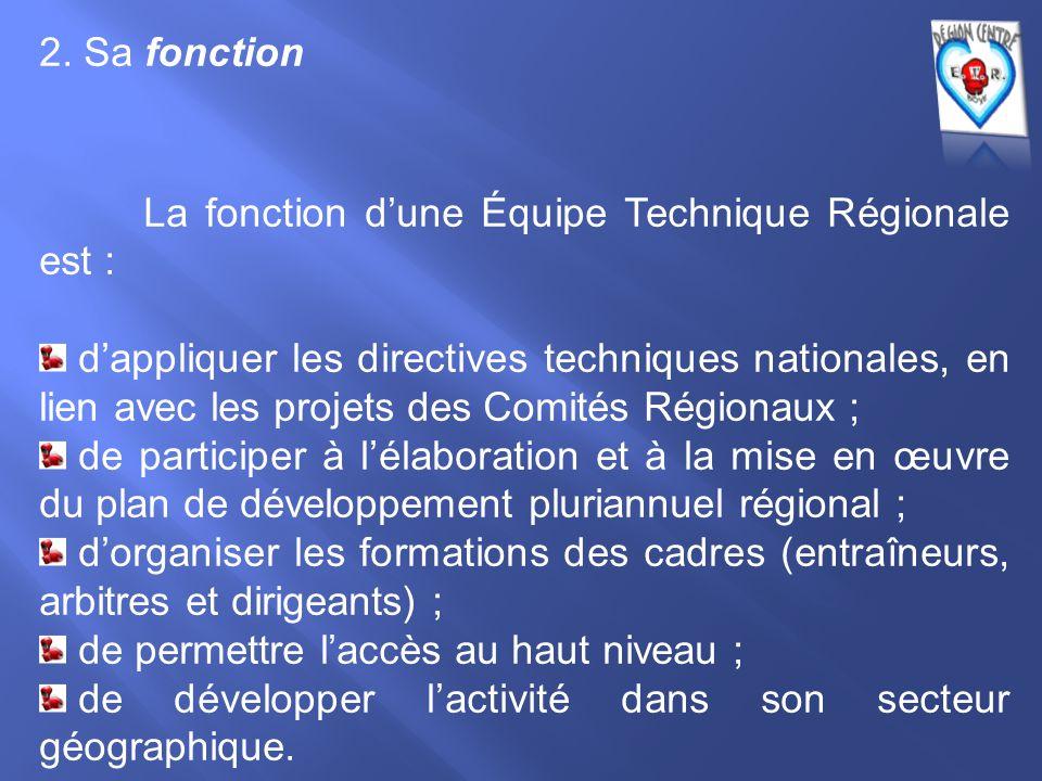 2. Sa fonction La fonction d'une Équipe Technique Régionale est : d'appliquer les directives techniques nationales, en lien avec les projets des Comit