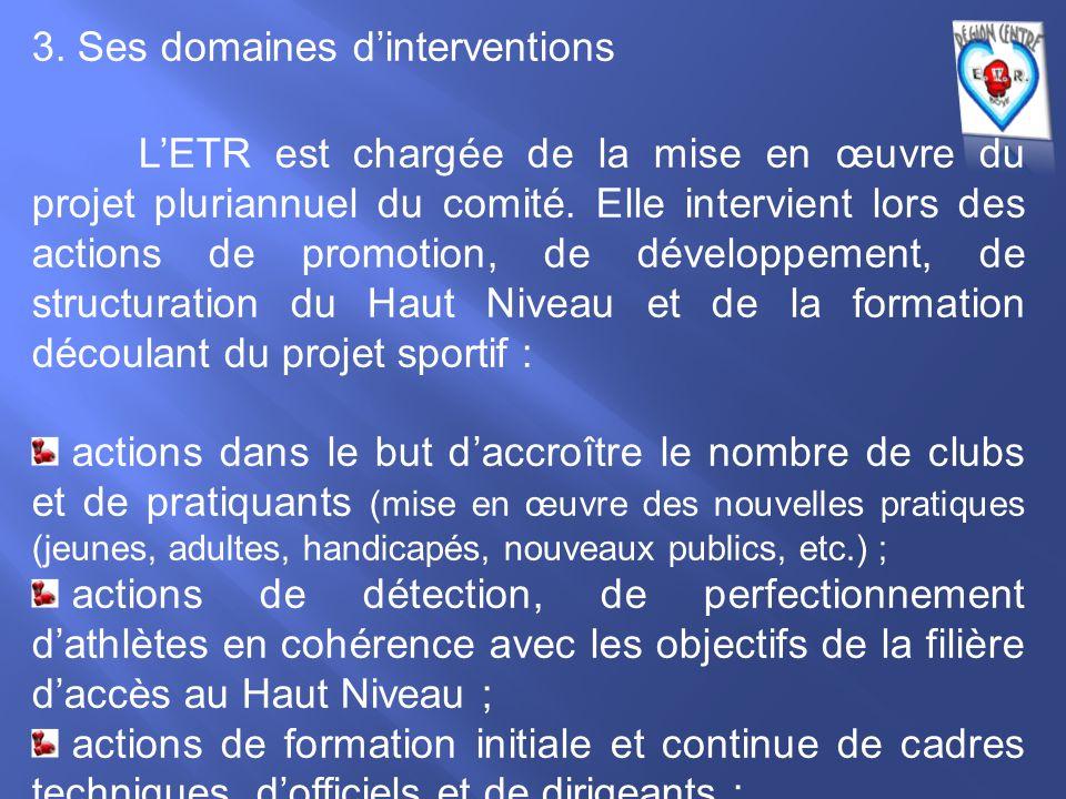 3. Ses domaines d'interventions L'ETR est chargée de la mise en œuvre du projet pluriannuel du comité. Elle intervient lors des actions de promotion,