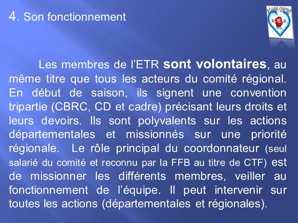 4. Son fonctionnement Les membres de l'ETR sont volontaires, au même titre que tous les acteurs du comité régional. En début de saison, ils signent un