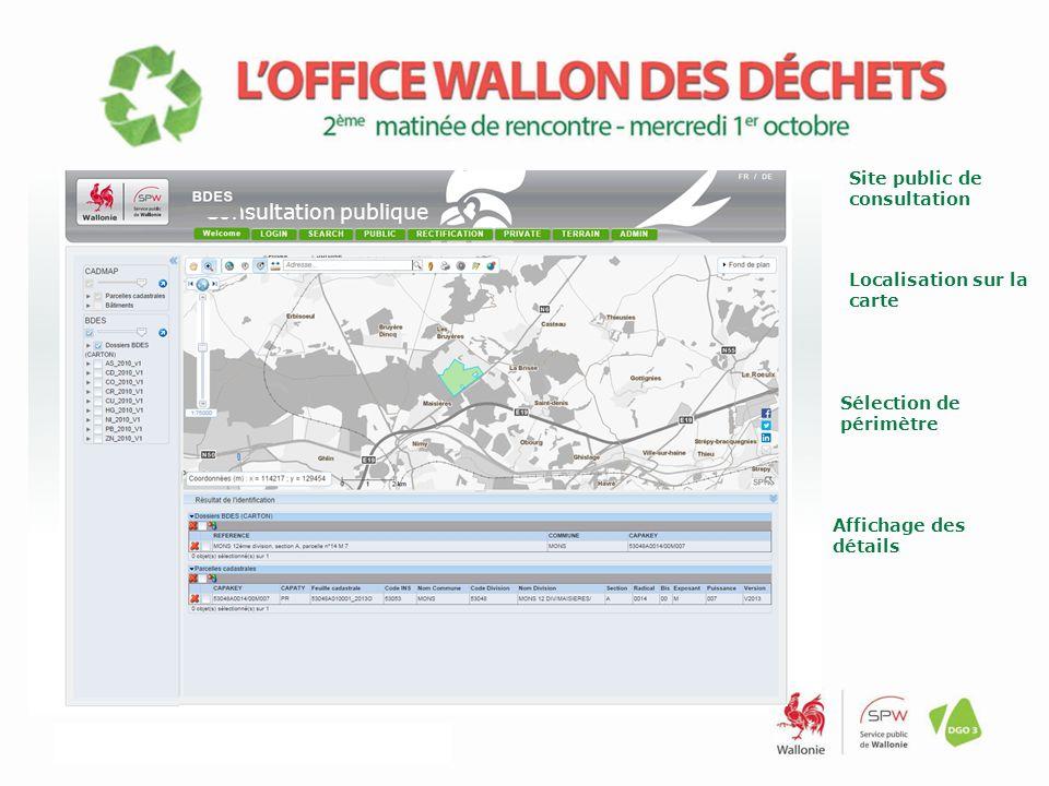 Localisation sur la carte Consultation publique Sélection de périmètre Affichage des détails Site public de consultation