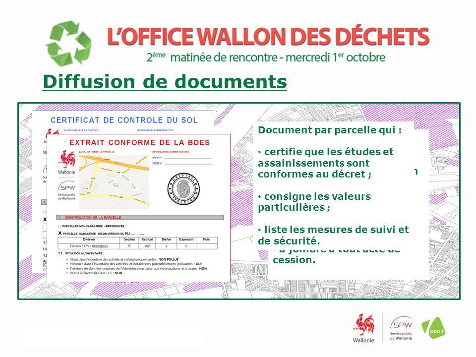 Document authentique et payant : établissant par parcelle un extrait du contenu de la BDES à une date donnée ; reprend les CCS de la parcelle ; à joindre à tout acte de cession.