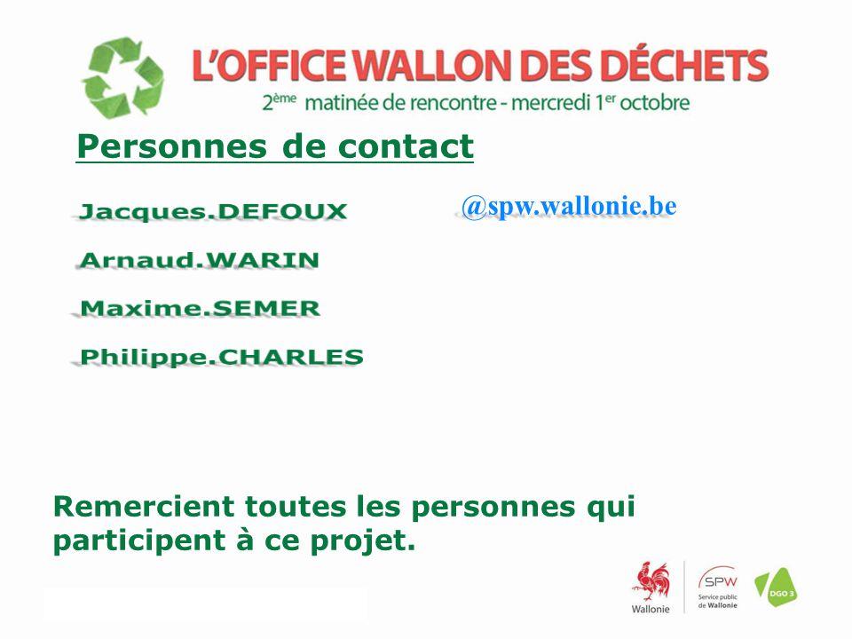 Remercient toutes les personnes qui participent à ce projet. Personnes de contact @spw.wallonie.be