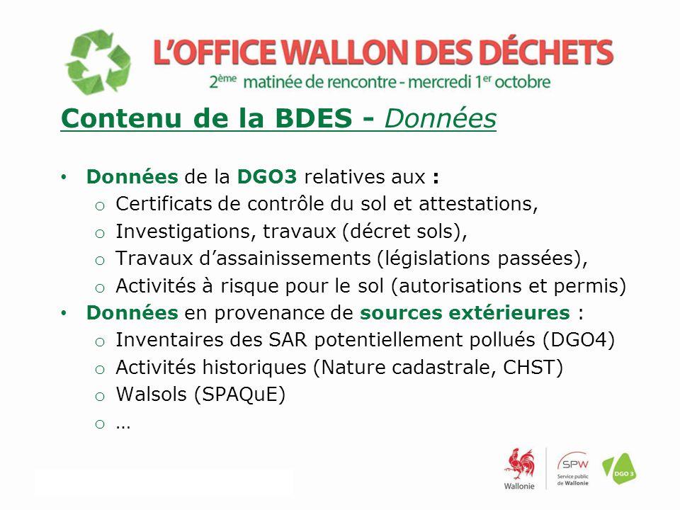 Contenu de la BDES - Données Données de la DGO3 relatives aux : o Certificats de contrôle du sol et attestations, o Investigations, travaux (décret sols), o Travaux d'assainissements (législations passées), o Activités à risque pour le sol (autorisations et permis) Données en provenance de sources extérieures : o Inventaires des SAR potentiellement pollués (DGO4) o Activités historiques (Nature cadastrale, CHST) o Walsols (SPAQuE) o …