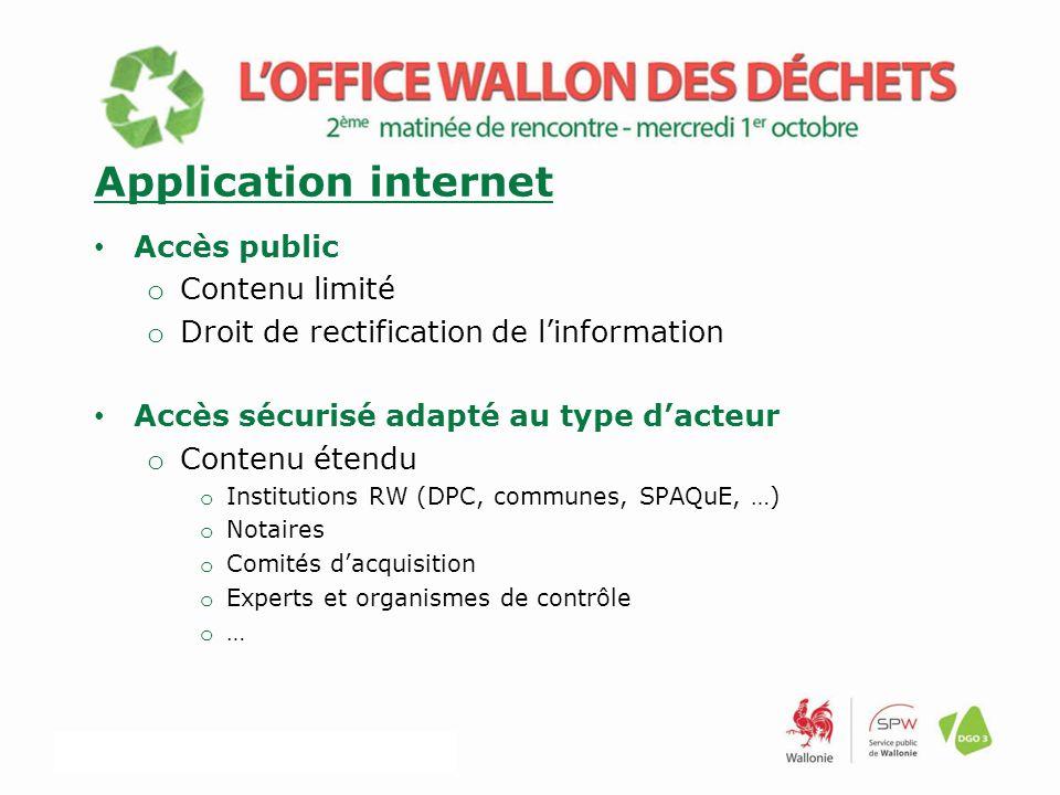 Accès public o Contenu limité o Droit de rectification de l'information Accès sécurisé adapté au type d'acteur o Contenu étendu o Institutions RW (DPC, communes, SPAQuE, …) o Notaires o Comités d'acquisition o Experts et organismes de contrôle o … Application internet
