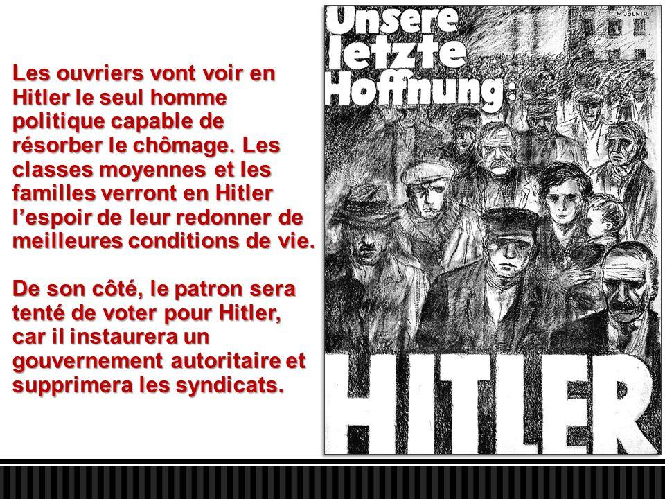 Les ouvriers vont voir en Hitler le seul homme politique capable de résorber le chômage. Les classes moyennes et les familles verront en Hitler l'espo