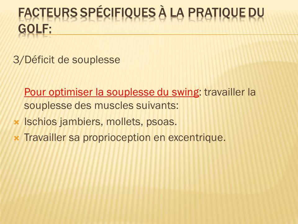 3/Déficit de souplesse Pour optimiser la souplesse du swing: travailler la souplesse des muscles suivants:  Ischios jambiers, mollets, psoas.  Trava