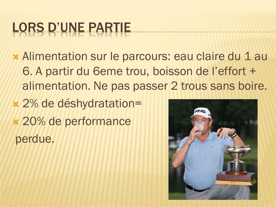  Alimentation sur le parcours: eau claire du 1 au 6. A partir du 6eme trou, boisson de l'effort + alimentation. Ne pas passer 2 trous sans boire.  2