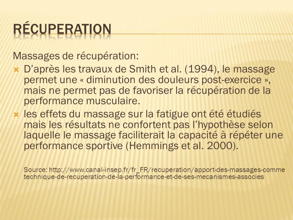 Massages de récupération:  D'après les travaux de Smith et al. (1994), le massage permet une « diminution des douleurs post-exercice », mais ne perme