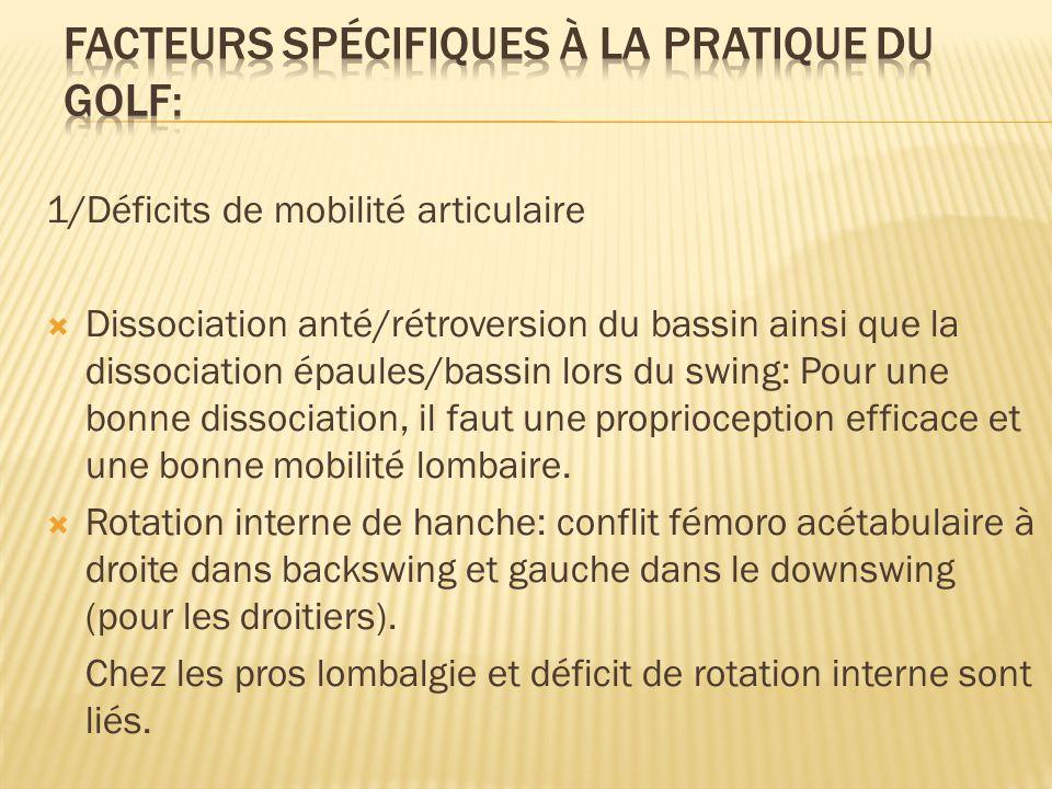 1/Déficits de mobilité articulaire  Dissociation anté/rétroversion du bassin ainsi que la dissociation épaules/bassin lors du swing: Pour une bonne d
