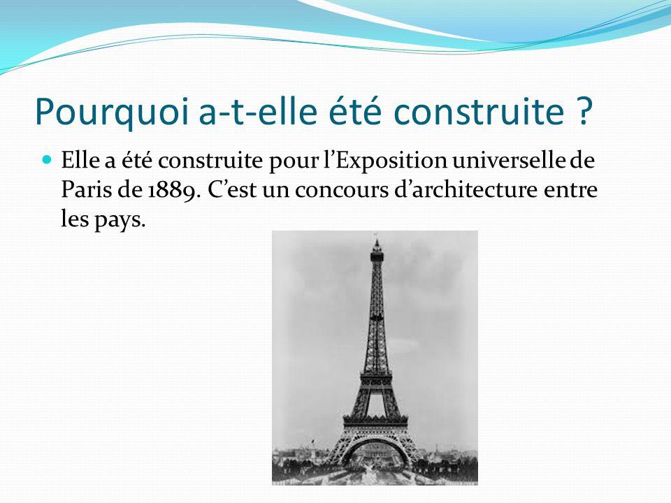 Pourquoi a-t-elle été construite ? Elle a été construite pour l'Exposition universelle de Paris de 1889. C'est un concours d'architecture entre les pa