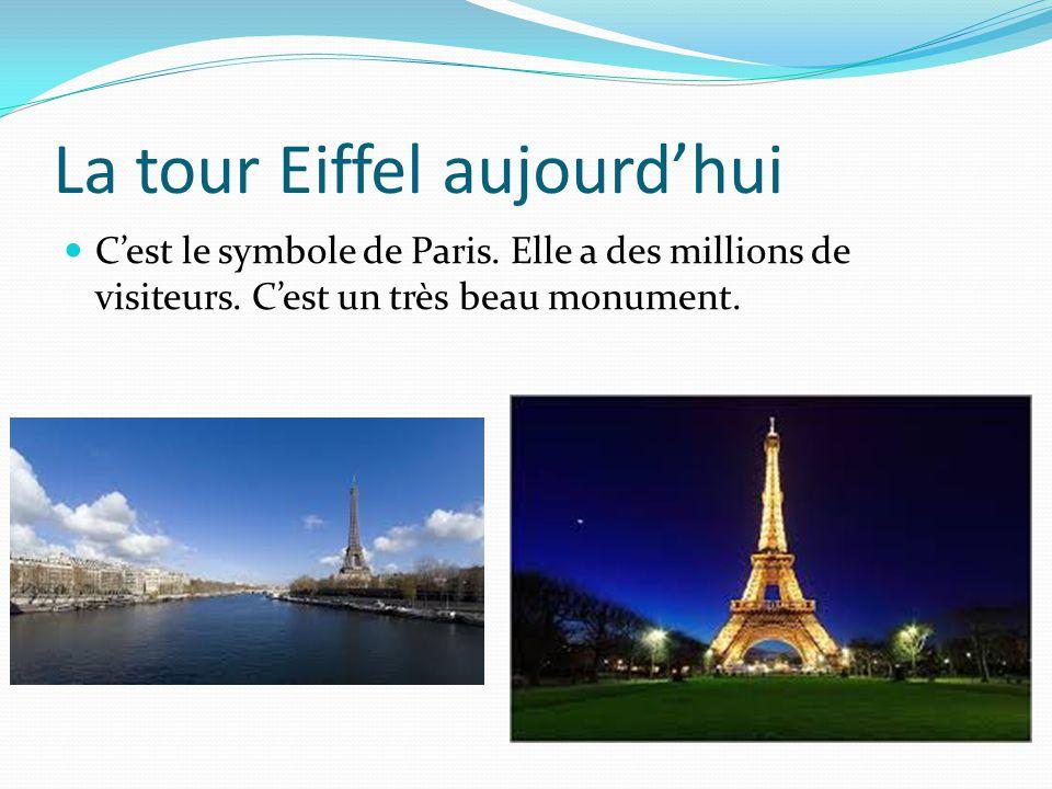 La tour Eiffel aujourd'hui C'est le symbole de Paris. Elle a des millions de visiteurs. C'est un très beau monument.