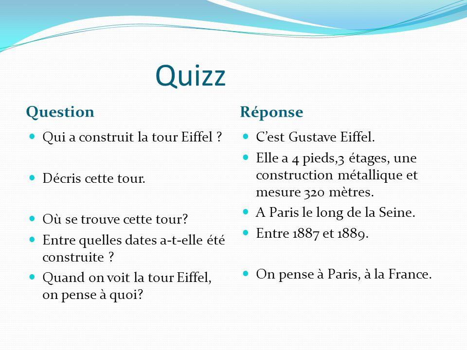Quizz Question Réponse Qui a construit la tour Eiffel ? Décris cette tour. Où se trouve cette tour? Entre quelles dates a-t-elle été construite ? Quan