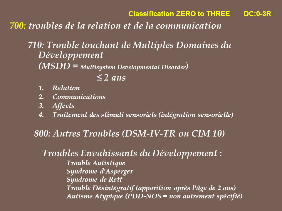 700: troubles de la relation et de la communication 710: Trouble touchant de Multiples Domaines du Développement (MSDD = Multisystem Developmental Dis