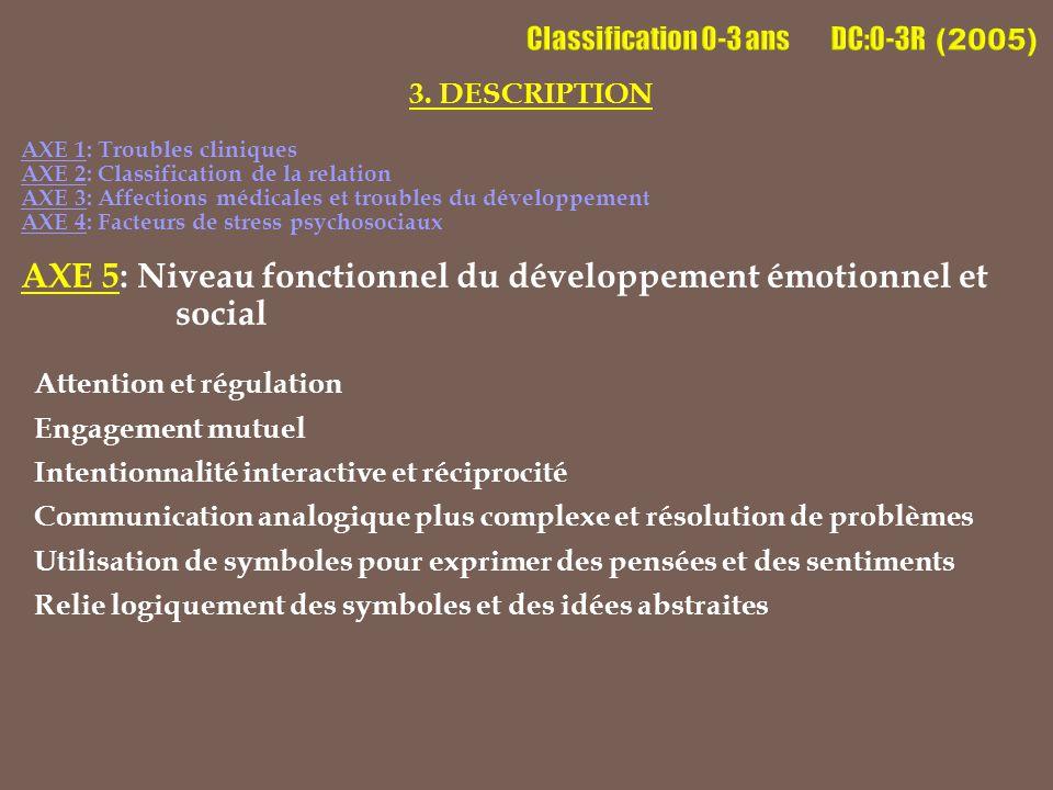 3. DESCRIPTION AXE 1: Troubles cliniques AXE 2: Classification de la relation AXE 3: Affections médicales et troubles du développement AXE 4: Facteurs