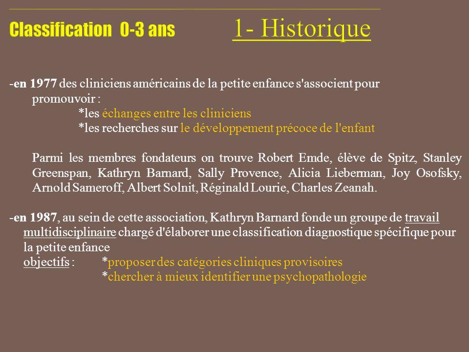 - 1994 : première publication de la Classification diagnostique (DC:0-3) - reconnaissance internationale : traduite ou en cours de traduction en 14 langues.