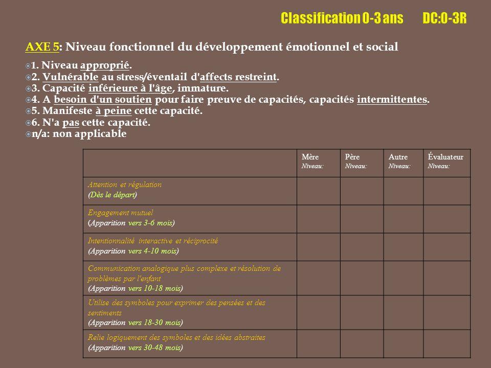 AXE 5: Niveau fonctionnel du développement émotionnel et social  1.