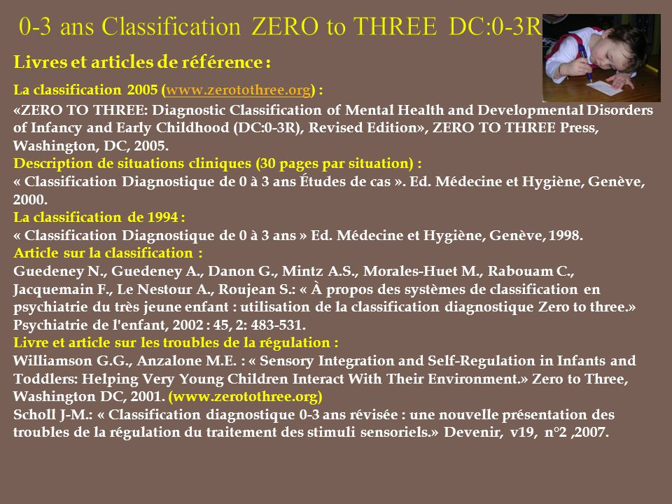 Livres et articles de référence : La classification 2005 (www.zerotothree.org) :www.zerotothree.org «ZERO TO THREE: Diagnostic Classification of Menta