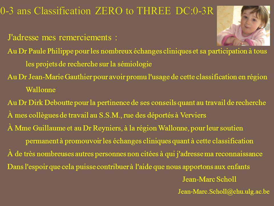 J adresse mes remerciements : Au Dr Paule Philippe pour les nombreux échanges cliniques et sa participation à tous les projets de recherche sur la sémiologie Au Dr Jean-Marie Gauthier pour avoir promu l usage de cette classification en région Wallonne Au Dr Dirk Deboutte pour la pertinence de ses conseils quant au travail de recherche À mes collègues de travail au S.S.M., rue des déportés à Verviers À Mme Guillaume et au Dr Reyniers, à la région Wallonne, pour leur soutien permanent à promouvoir les échanges cliniques quant à cette classification À de très nombreuses autres personnes non citées à qui j adresse ma reconnaissance Dans l espoir que cela puisse contribuer à l aide que nous apportons aux enfants Jean-Marc Scholl Jean-Marc.Scholl@chu.ulg.ac.be