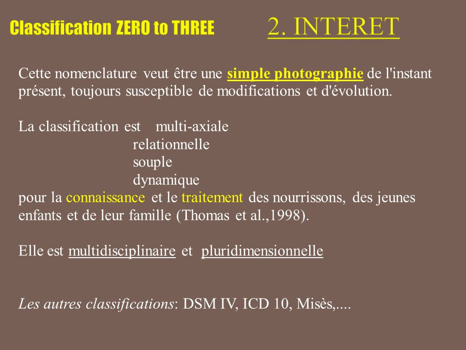 Livres et articles de référence : La classification 2005 (www.zerotothree.org) :www.zerotothree.org «ZERO TO THREE: Diagnostic Classification of Mental Health and Developmental Disorders of Infancy and Early Childhood (DC:0-3R), Revised Edition», ZERO TO THREE Press, Washington, DC, 2005.