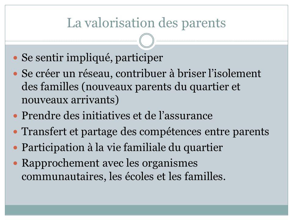 La valorisation des parents Se sentir impliqué, participer Se créer un réseau, contribuer à briser l'isolement des familles (nouveaux parents du quart