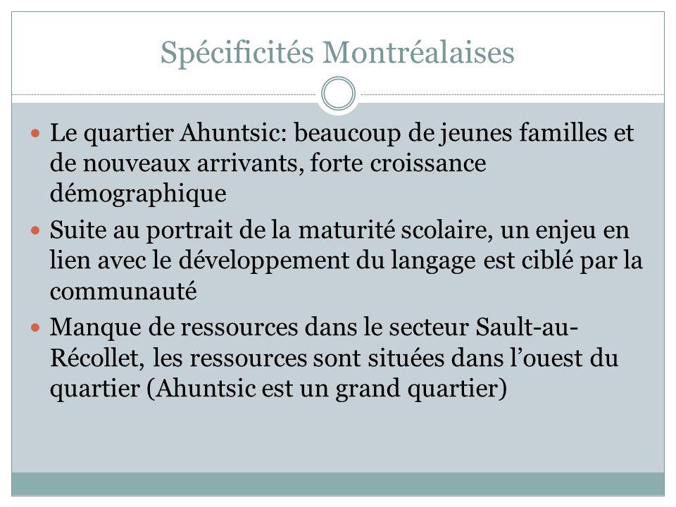 Spécificités Montréalaises Le quartier Ahuntsic: beaucoup de jeunes familles et de nouveaux arrivants, forte croissance démographique Suite au portrai