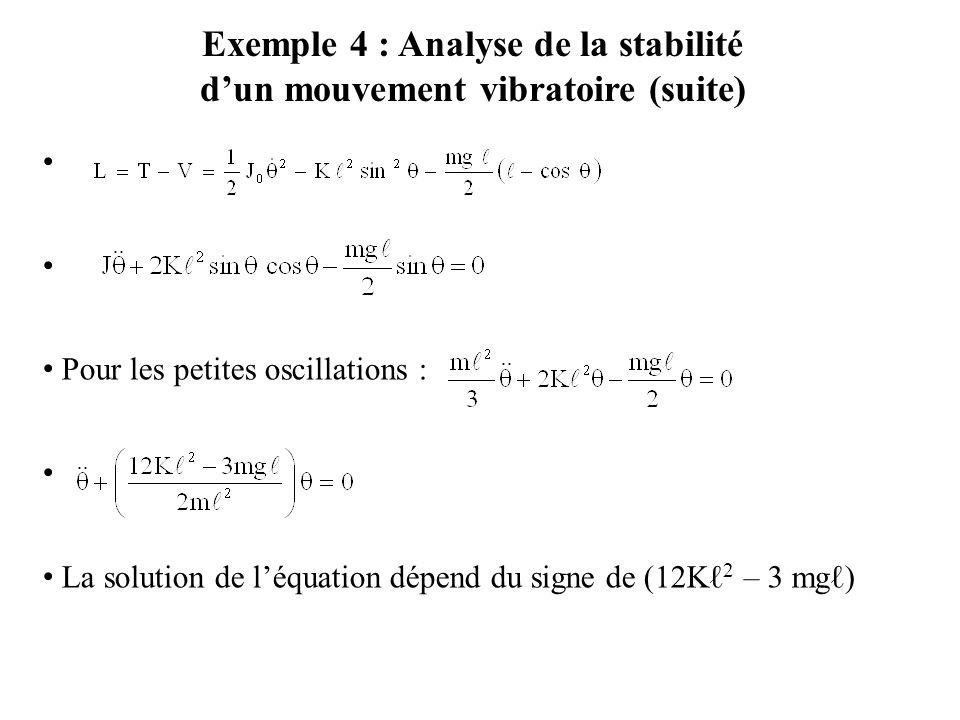 Pour les petites oscillations : La solution de l'équation dépend du signe de (12Kℓ 2 – 3 mgℓ) Exemple 4 : Analyse de la stabilité d'un mouvement vibra