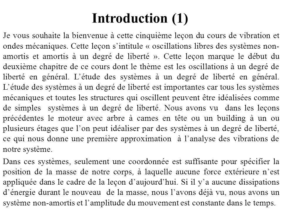 Introduction (1) Je vous souhaite la bienvenue à cette cinquième leçon du cours de vibration et ondes mécaniques. Cette leçon s'intitule « oscillation