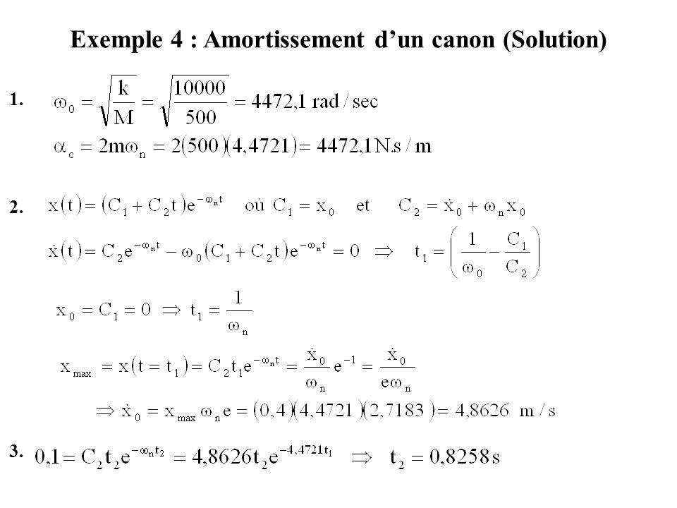 Exemple 4 : Amortissement d'un canon (Solution) 1. 2. 3.