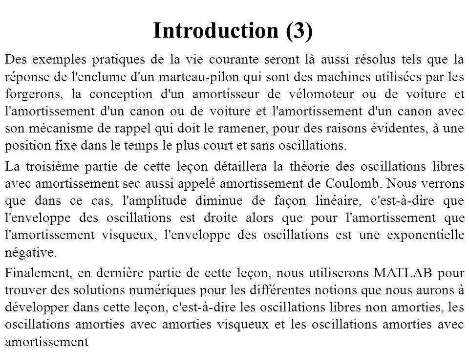 Introduction (3) Des exemples pratiques de la vie courante seront là aussi résolus tels que la réponse de l'enclume d'un marteau-pilon qui sont des ma