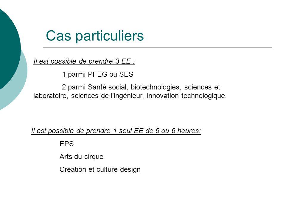 Cas particuliers Il est possible de prendre 3 EE : 1 parmi PFEG ou SES 2 parmi Santé social, biotechnologies, sciences et laboratoire, sciences de l'ingénieur, innovation technologique.