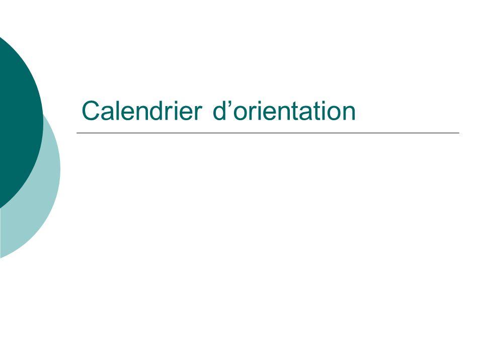 Calendrier d'orientation