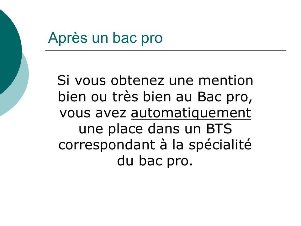 Après un bac pro Si vous obtenez une mention bien ou très bien au Bac pro, vous avez automatiquement une place dans un BTS correspondant à la spécialité du bac pro.