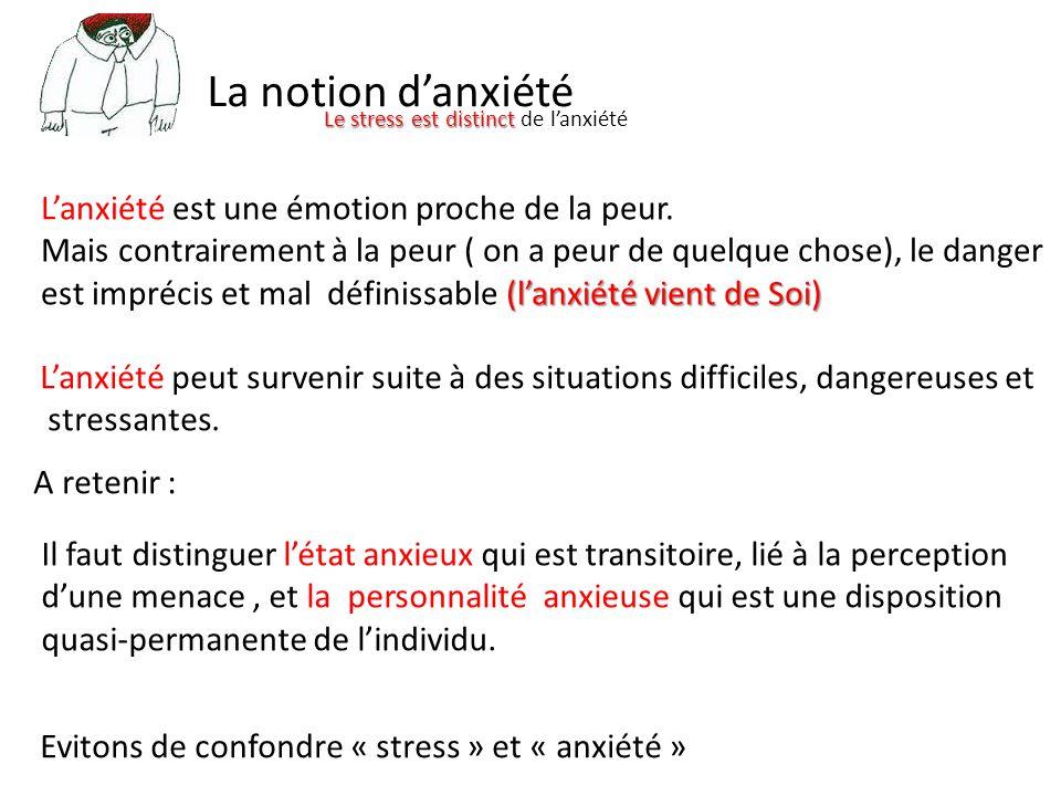 La notion d'anxiété Le stress est distinct Le stress est distinct de l'anxiété L'anxiété est une émotion proche de la peur.
