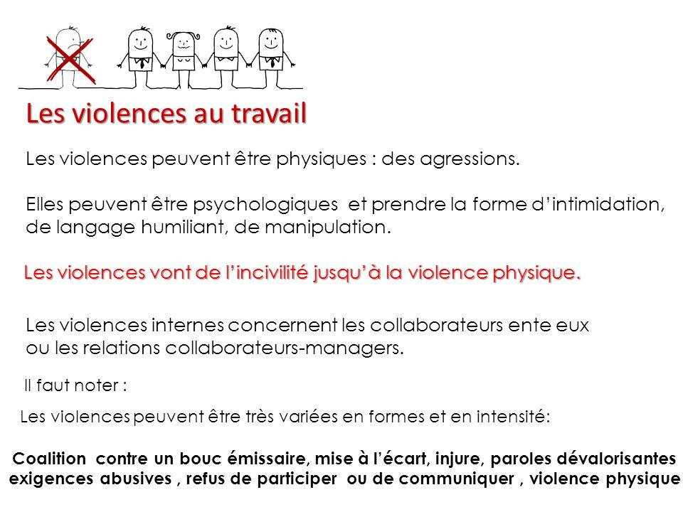 Les violences au travail Les violences peuvent être physiques : des agressions.