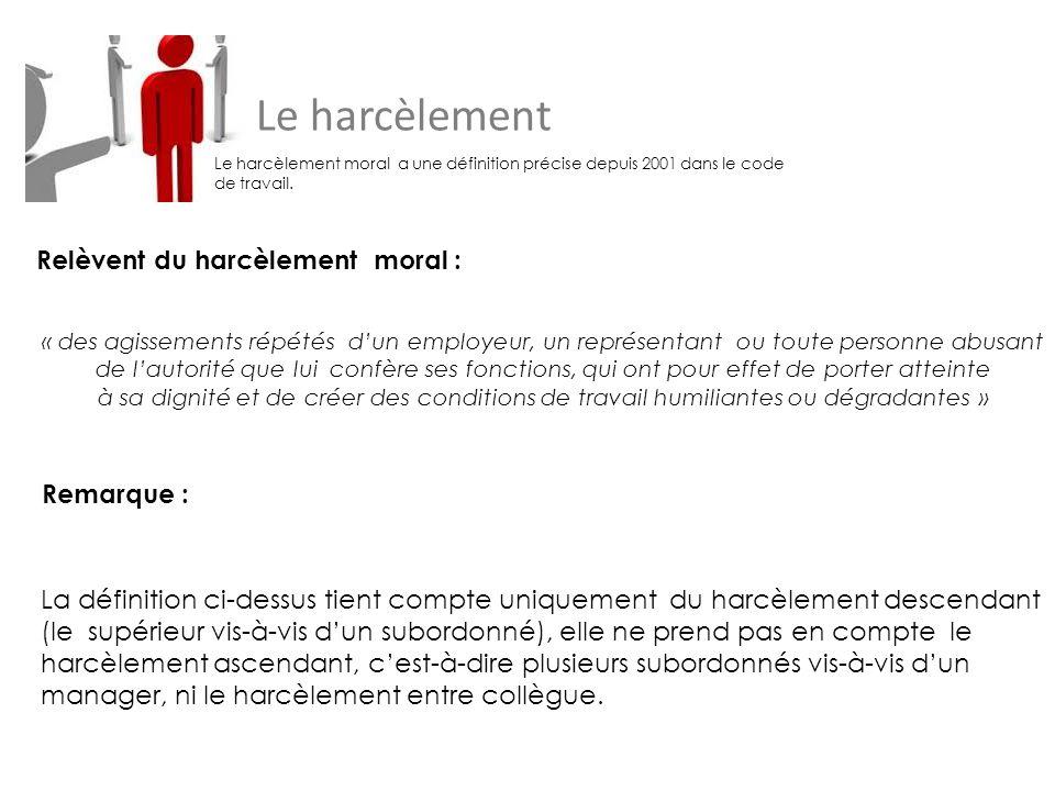 Le harcèlement Le harcèlement moral a une définition précise depuis 2001 dans le code de travail.