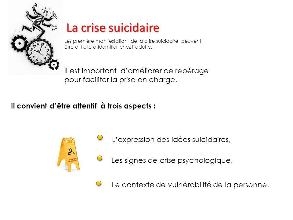 La crise suicidaire Les première manifestation de la crise suicidaire peuvent être difficile à identifier chez l'adulte.