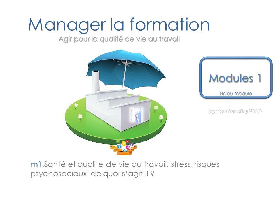 Agir pour la qualité de vie au travail Manager la formation Agir pour la qualité de vie au travail Fin du module Modules 1 Modules 1 Modules 1 Modules 1 m1.