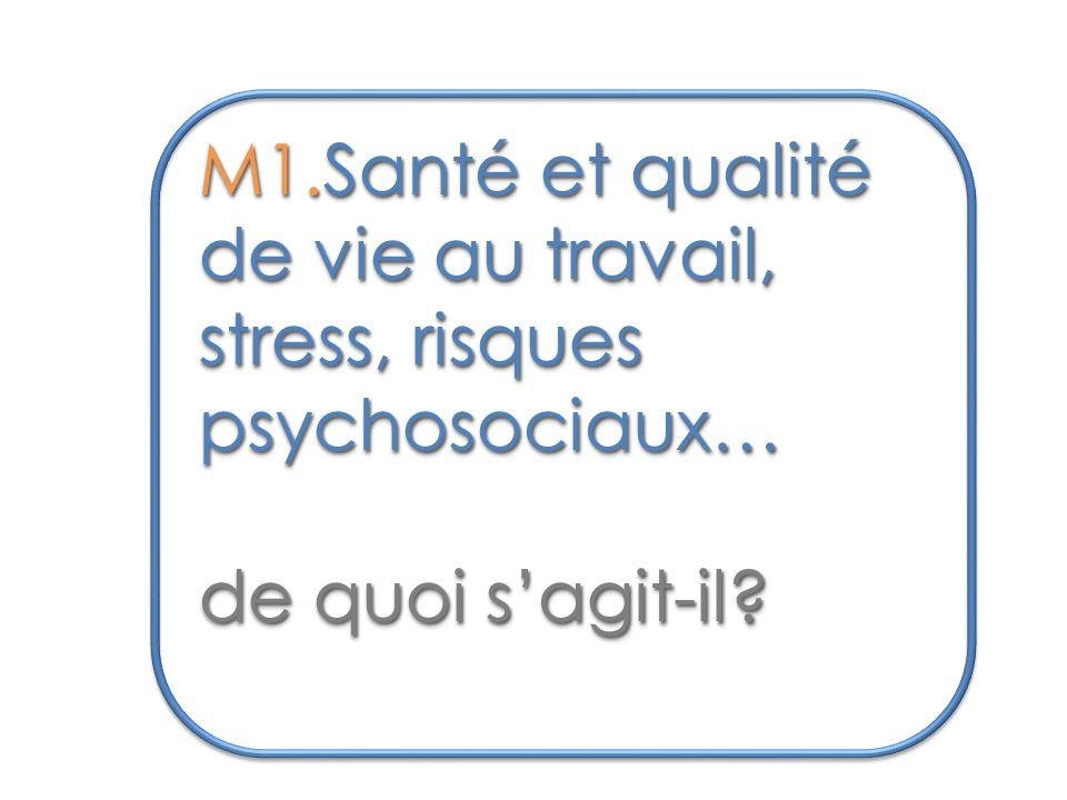 M1.Santé et qualité de vie au travail, stress, risques psychosociaux… de quoi s'agit-il.