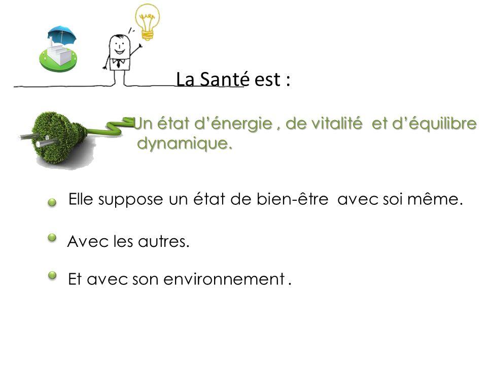 La Santé est : Un état d'énergie, de vitalité et d'équilibre dynamique.