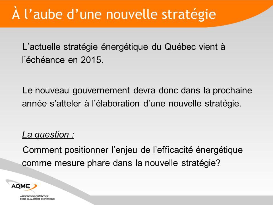 À l'aube d'une nouvelle stratégie L'actuelle stratégie énergétique du Québec vient à l'échéance en 2015.