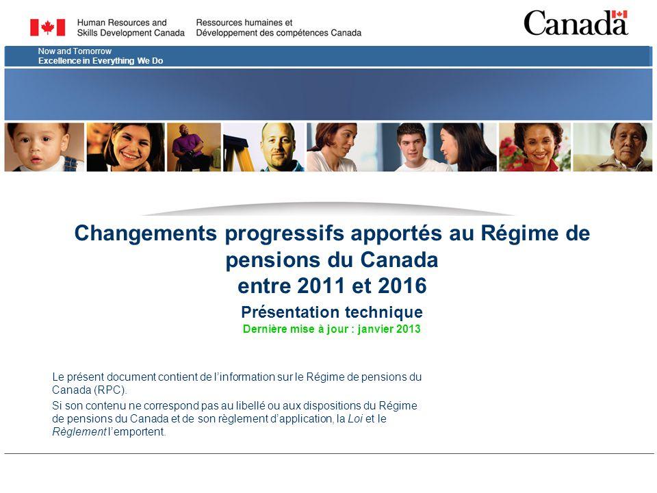 2 Au sujet de cette présentation  La présentation qui suit vise à décrire les modifications techniques qu'on est en train d'apporter au Régime de pensions du Canada (RPC).