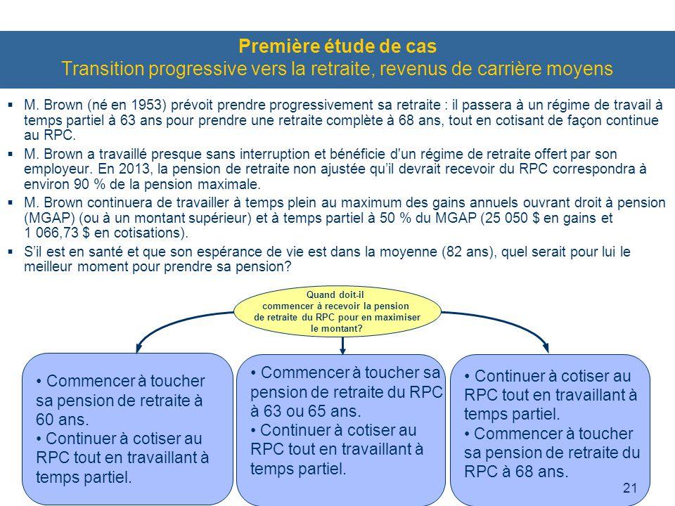 21 Première étude de cas Transition progressive vers la retraite, revenus de carrière moyens  M.